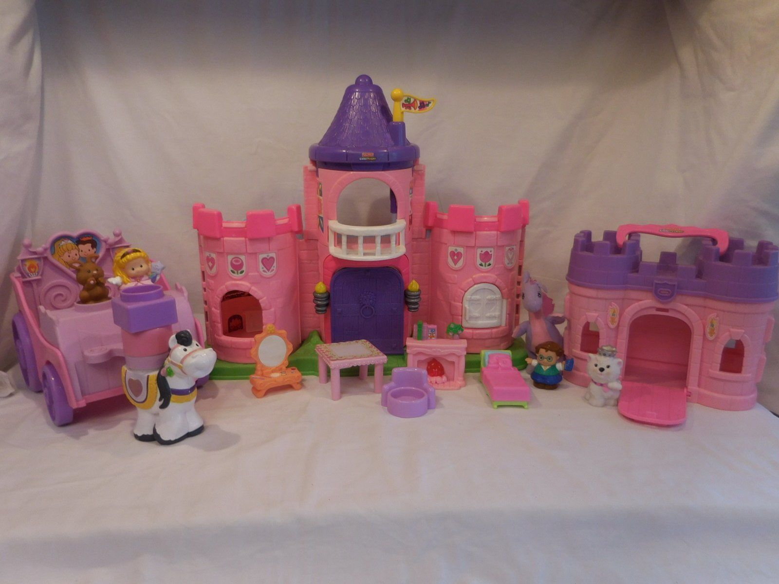 Fisher Price Little People Pink Castle + Play 'N Go Castle + Princess Carriage