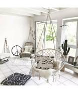 US Outdoor Indoor Garden Cotton Hanging Rope Air/Sky Chair Swing Beige H... - $88.11