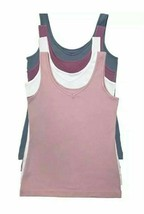Felina 4 Pk Womens Small Reversible Tank Scoop or V Neck White Pink Blue... - $22.99