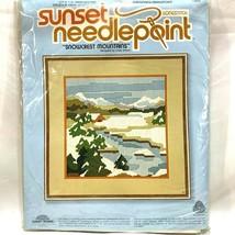 Sunset Needlepoint Snowcrest Mountains Landscape Craft Kit Beginning Lev... - $17.46