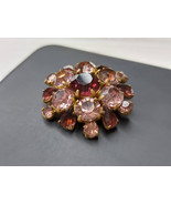 Vintage brooch with purple pink crystals Vintage purple rhinestones broo... - $19.00