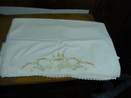 VINTAGE Embroidered Cotton Bolster pillow case 21 X52 yellow flowers - $9.99