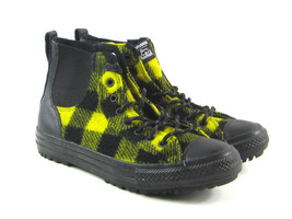 Converse x Woolrich Women's Black,Yellow Plaid Chelsea High top Sneakers... - $63.95