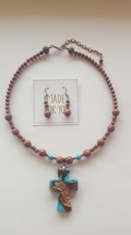 Turquoise cross with gold sandstone necklace thumb200