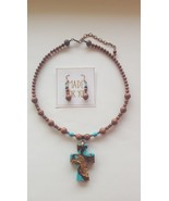 NEW Cross Pendant on Gold Sandstone Necklace with matching Earrings - $35.00