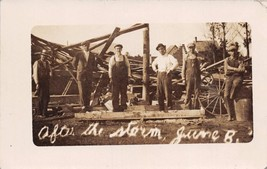 TYLER MINNESOTA AFTER THE STORM~MEN REPAIR DAMAGED BUILDING~REAL PHOTO P... - $8.98