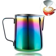 Milk Pitcher Frothing Cup Stainless Steel Coffee Jug Rainbow Espresso Latte Tea image 1