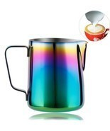 Milk Pitcher Frothing Cup Stainless Steel Coffee Jug Rainbow Espresso La... - $11.99