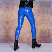Men's Skin Tight Blue Color Faux Latex Zipper Pouch Stretch Pants Leggings  image 3
