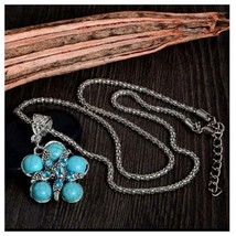 Turquoise Flower With Starfish Necklace, Antique Silver Vintage Style - $3.99