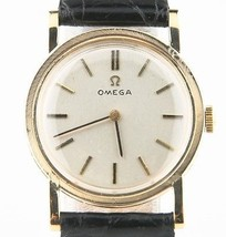 VINTAGE OMEGA 14k Oro Amarillo Correa Manual Reloj Mecánico Con / de cuero - $1,062.34