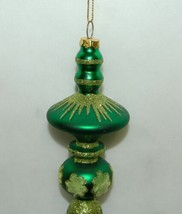 Generic Green Gold Chiristmas Finial Ornament 8.5 Inches Long image 2
