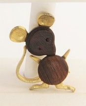 50s VINTAGE Jewelry RETRO CUTE KITSCHY WOOD METAL LARGE MOUSE BROOCH MID... - $15.00