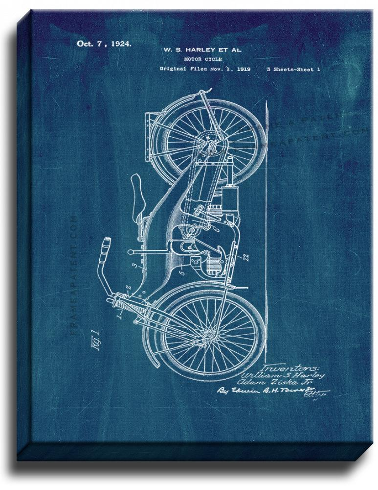 Primary image for Harley Motorcycle Patent Print Midnight Blue on Canvas