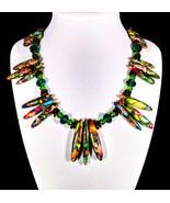 "16 1/2"" Multi-colored stone spear, swarovski crystal, shell & artglass b... - $110.00"