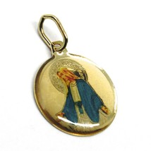 SOLID 18K YELLOW ROUND GOLD MEDAL, VIRGIN MARY 15mm, MIRACULOUS, ENAMEL image 2