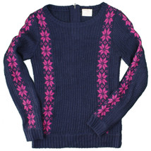 Tommy Girl by Tommy Hilfiger Blue Pink Nordic Print Back Zip Sweater You... - $19.79