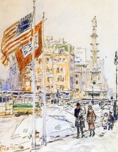 The Museum Outlet - Flags, Columbus Circle, 1918, Stretched Canvas Galle... - £106.15 GBP