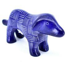 Tabaka Chigware Hand Carved Kisii Soapstone Dark Blue Standing Puppy Dog Figure image 4