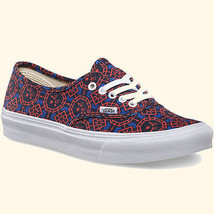 Vans Authentic Slim Geometric Dazzling Blue White Mens 7.5 Womens 9 Shoes Nib - $41.05
