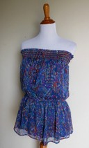 FOREVER 21 ~ LARGE BLUE COMBO PRINT STRAPLESS TUNIC TUBE TOP - $14.85