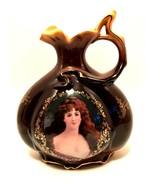 Fleur-de-Lys Victorian Pitcher Gold Detail Lovely Lady Portrait 8.5 inch... - $117.80