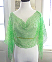 Spring Green Net Sequin Poncho, Sequin Wrap, Lightweight Layering, Sparkle Top