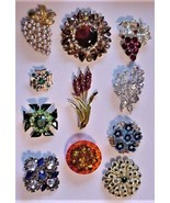 Vintage lot Rhinestone Faux Pearls Brooches Pins Lisner Weiss Avon Juliana - $165.00