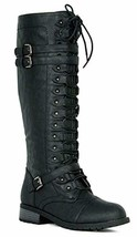 Wild Diva Women's Fashion Timberly-65 Military Knee High Combat Boots Shoes Blac - $67.95