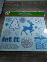 2 New Christmas House Window Decor 9.75 x 11.5 Blue LET IT SNOW - $13.67