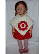 American Girl White Poncho with Red Flower, Handmade, Crochet, 18 Inch Doll - $15.00