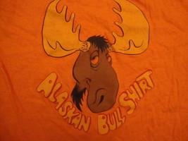 vintage 70's Alaska alaskan Bull orange moose tourist ringer T Shirt S - $19.79
