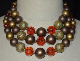 Vintage Topaz Prystal Metallic Gold Large Bead Beaded Choker Necklace - $29.70