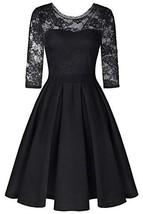 BBX Lephsnt Women's Vintage Floral Lace Cocktail Party A-Line Dress Black - $37.93