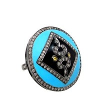 Enamel Sterling Silver Pave Diamond Cocktail Ring 14k Gold Vintage Style... - $741.26