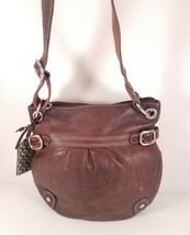 FOSSIL Medium Brown Leather Hobo Cross-Body Handbag with Zipper Closure - $30.81