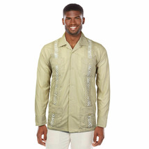 Men's Beach Guayabera Casual Cuban Wedding Button-Up Long Sleeve Dress Shirt image 2
