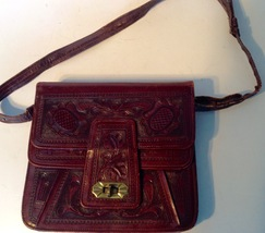 Vintage Hand Tooled Brown Leather Purse Shoulder Handbag Mayan Calendar ... - $28.66