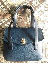 Vintage Christian Dior grained navy leather hadbag with golden oval CD l... - $338.00