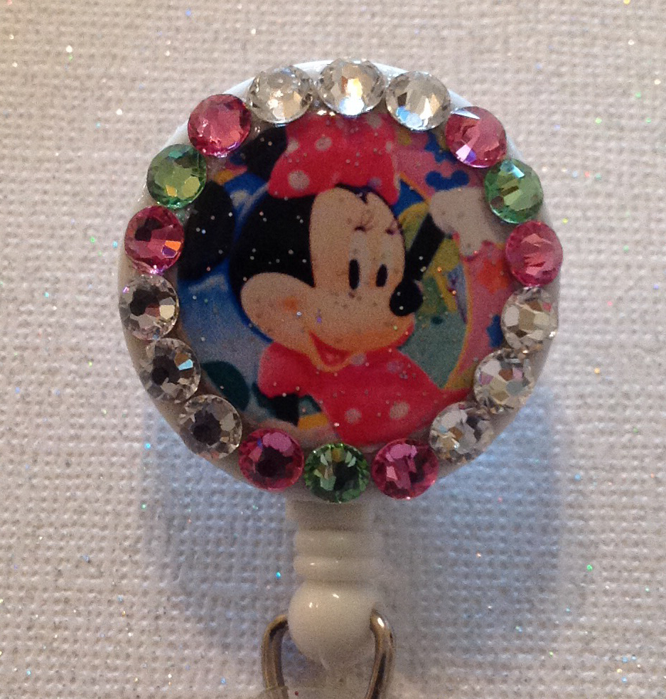 Primary image for Minnie Mouse Badge Reel -  Minnie Id Holder - Swarovski Crystals Alligator Clip