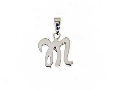 18K WHITE GOLD LUSTER PENDANT WITH INITIAL M LETTER  M MADE IN ITALY 0.71 INCHES