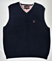 TOMMY HILFIGER Navy Blue Cable Knit Sweater Vest LARGE Mens/Womens Golf ... - $26.22