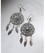 Dream catcher earrings with moonstone, dangle earrings bohemian style fo... - $24.65