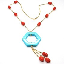 Necklace Silver 925 Yellow, Red Coral Oval, Hexagon Turquoise Pendant - $125.80