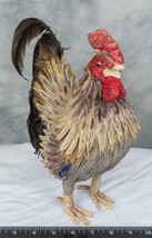 Farmhouse Decor Rooster Paper & Feather Figurine g30 - $19.79