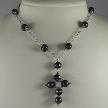 .925 SILVER RHODIUM NECKLACE WITH GRAY PEARLS AND CROSS image 1