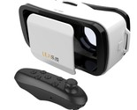 White LEJI Mini 3D VR Virtual Reality Glasses + Black Bluetooth Remote Controlle