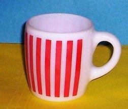 HAZEL ATLAS GLASS-- PLATONITE RED STRIPES MUG - $9.95