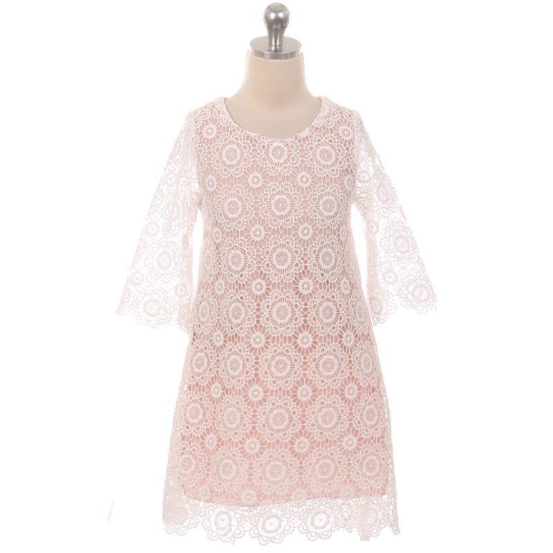 Ivory Long Sleeve Thick Floral Design Lace with Pearl Button Closure Girl Dress