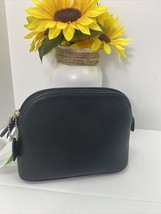 Coach Cosmetic Bag Glove Black Leather Dome Zip Large M5 - $117.59
